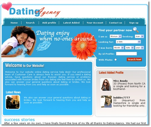 Dating website layout chat