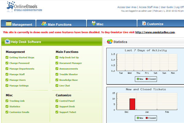 Omnistar Live is a dynamic helpdesk ticket software solution.