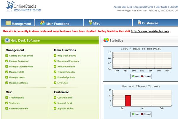 Omnistar Help Desk Software screenshot